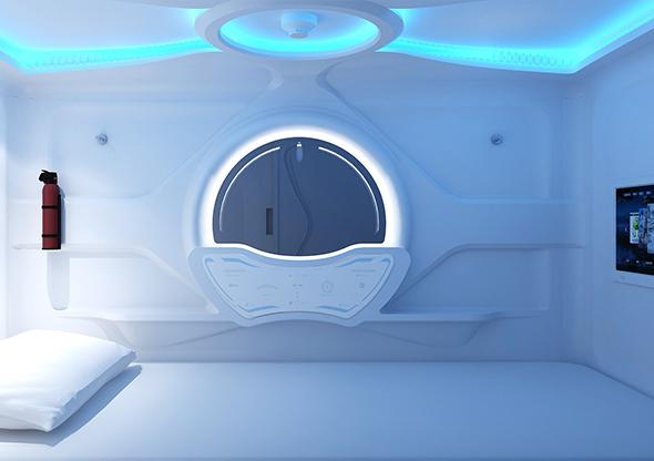 簡潔款太空艙門橫式單人艙奢華版