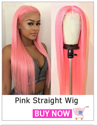 Pink Wig Human Hair Long Straight Lace Front Wig