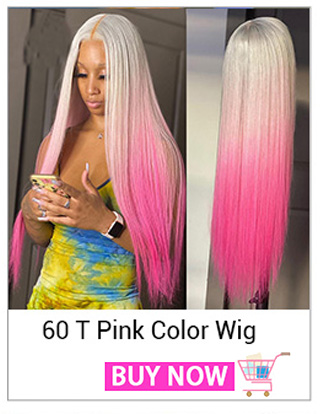 Ombre Pink Colored Human Hair Wigs For Women T 60 Pink Straight Lace Front Wig