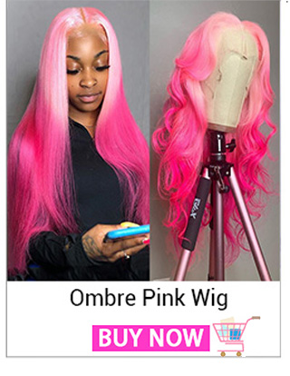 Rose Pink Straight Wig Ombre Blue Human Hair Wig